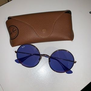 Ray-Ban purple circle sunglasses with leather case